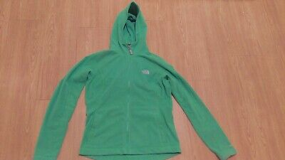 Green North Face TKA100 Zip Front Fleece Jacket with Hood ladies Small S/P