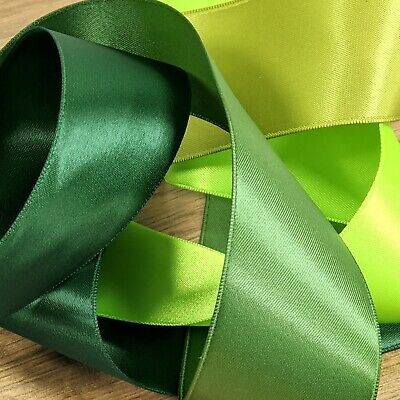 Gorgeous Green Satin Ribbon 3mm-50mm Thin-Wide Double Sided Forest Cut Per 1M