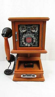 Coca-Cola Nostalgic Wall Phone - Real Wood Push Button Rotary Style