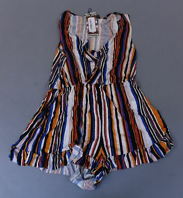 Boohoo Women's Plunge Striped Ruffle Hem Playsuit SC4 Multi Size US:6 UK:10 NWT