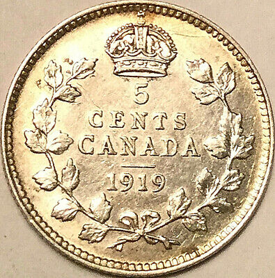 1919 CANADA SILVER 5 CENTS COIN - Excellent example!