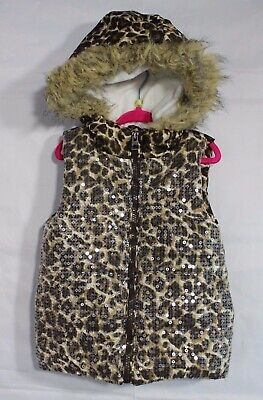 The children place little girls puffer vest animal print hoodie zip size XS 4