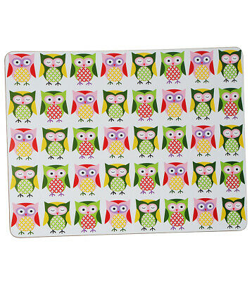 "Document/Placemat - "" Colorful Owls "" - 40 cm 29 cm - Coated with Korkunt"