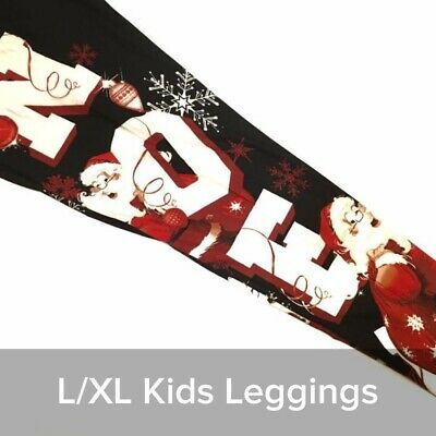 Lularoe L/XL Kids Christmas Leggings 2019 Santa Noel Black Home For The Holiday