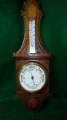 Huge Antique Carved Oak Banjo Aneroid Barometer/Thermometer for restoration