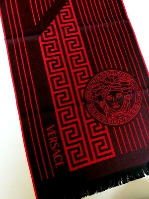 Versace scarf black red striped Medusa NEW wool winter mens womens ladies