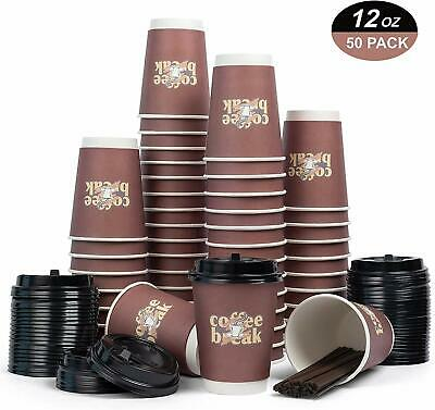 Disposable Coffee Cup 12oz Double Wall Insulated 50 count with Lid/Stirrer