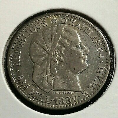 1887 Haiti Silver 20 Centimes High Grade Coin With Toning