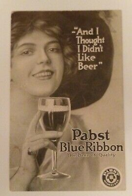 Pabst Blue Ribbon Beer Postcard Collectible 1900's Woman Milwaukee Wisconsin PBR