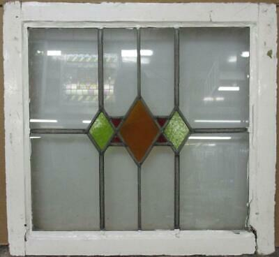 """OLD ENGLISH LEADED STAINED GLASS WINDOW Stunning Diamond Design 21.75"""" x 20.25"""""""