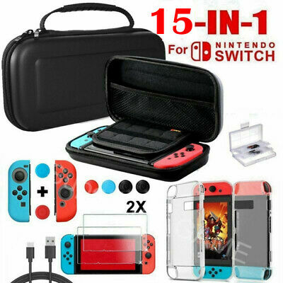 For Nintendo Switch Hard Case Travel Bag + Glass Screen Protector Charging Cable