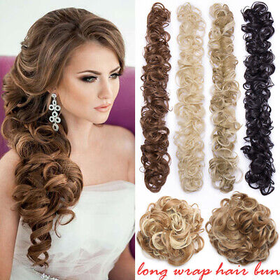 AU Scrunchie Updo Wrap Curly Messy Bun Hair Piece Hair Extensions Real as Human