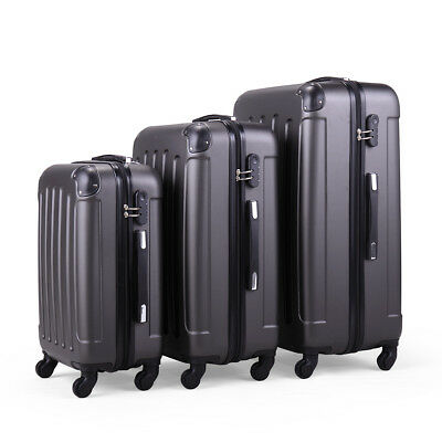 3PCS Luggage Gray Carry On Set Trolley Suitcase Travel Spinner ABS+PC