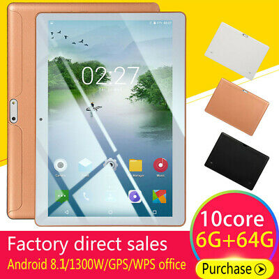 "10.1"" Inch Tablet PC bluetooth Android 8.110 Core WIFI/GPS Dual SIM Camera"