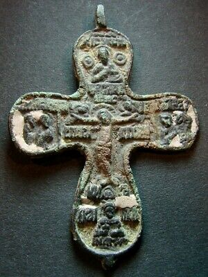 ANCIENT BIG BRONZE ENAMEL CROSS. RELIGIOUS ARTIFACT 16-17 CENTURY 60 mm. (R.120)