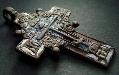 ANCIENT BIG BRONZE ENAMEL CROSS. RELIGIOUS ARTIFACT 18 CENTURY. 56 mm. (R.054)