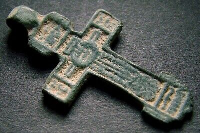 ANCIENT BRONZE CROSS RARE. RELIGIOUS ARTIFACT 16 - 17 CENTURY. 34 mm. (R.046)