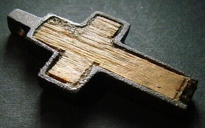 ANCIENT CROSS. BRONZE AND WOOD. RELIGIOUS ARTIFACT 18 - 19 CENTURY 40 mm (R.060)