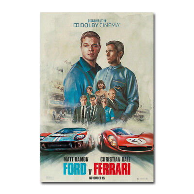 Ford v Ferrari Movie Christian Bale Car Art Silk Canvas Poster Print 24x36inch