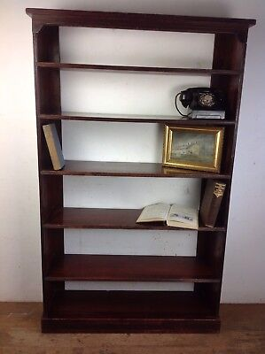 Antique Wooden Bookcase Old Edwardian floor standing shelves
