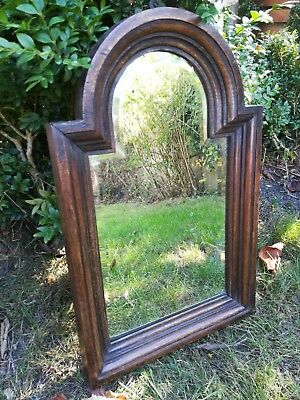 Antique bevelled wall mirror aged patina Old Wooden Framed