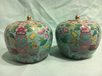 Antique Chinese Enamel / Cloisonne Ginger Jars W/ Lids (One Pair)