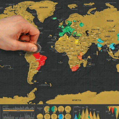 Deluxe Large Scratch Off World Map Poster Personalized Travel Gifts Wanderlust