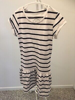 Miss Understood Girls Dress Blue & White Striped - Size 8