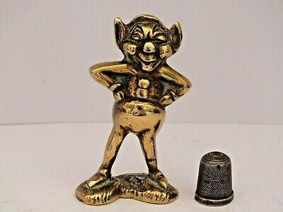 Vintage Mid 20th Century Heavy Brass Laughing Gnome,Pixie or Elf Figurine