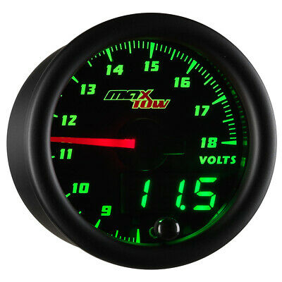 52mm MAXTOW DOUBLE VISION VOLTAGE VOLT METER GAUGE - GREEN LED DIGITAL + ANALOG