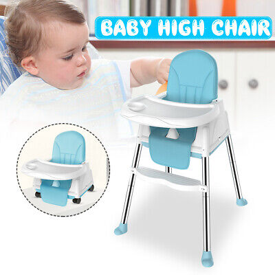 3 in1 Baby High Chair Convertible Table Seat Booster Toddler Feeding W/ Mat Blue