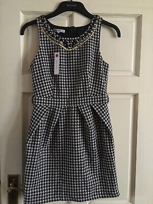 Girls Autograph Embellished Houndstooth Black / White Mini Dress Wool Mix Age 14
