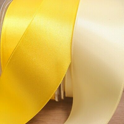 Beautiful Yellow Double Sided Satin Ribbon 3mm-38mm Thin Wide Solid Cut Per 1M