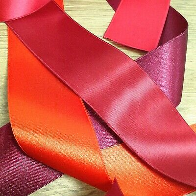 RED PREMIUM QUALITY SATIN RIBBON 3mm-50mm Thin - Wide Double Sided Cut Per 1M