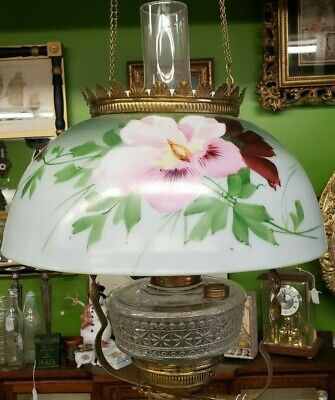 Antique ~ Flower Hanging Dome Lamp ~Still in Oil~ Real Pretty!  Circa 1900-40's