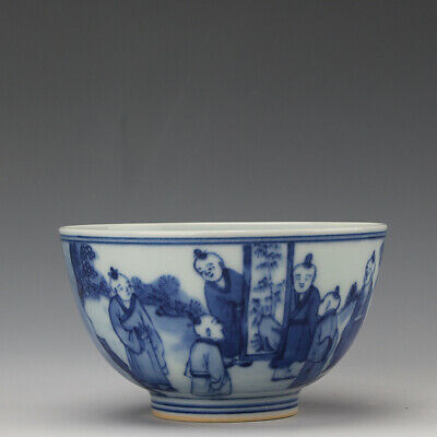 Chinese old antique Porcelain Kangxi marked blue white Children play tea cup