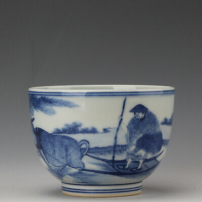 Chinese old antique Porcelain Qing Kangxi marked blue white elderly ox tea cup