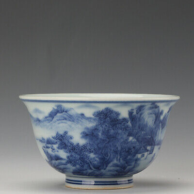 Chinese old Porcelain Kangxi marked blue white landscape House people tea cup