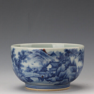 Chinese old antique Porcelain Kangxi marked blue white landscape tea cup