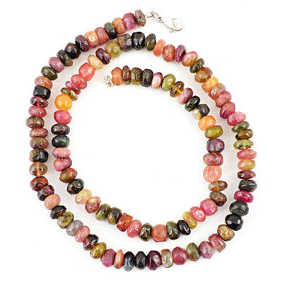 249.00 Cts Natural Untreated Watermelon Tourmaline Round Shape Beads Necklace