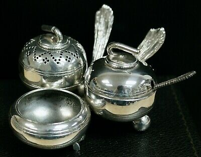 Victorian Silver Plated Curling Stone & Brushes Cruet/Condiment Set, Fenton Bros