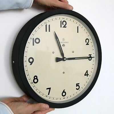 ATO JUNGHANS Vintage Wall Clock 1940s FULL FUNCTIONING PULSE! Electric RESTORED!