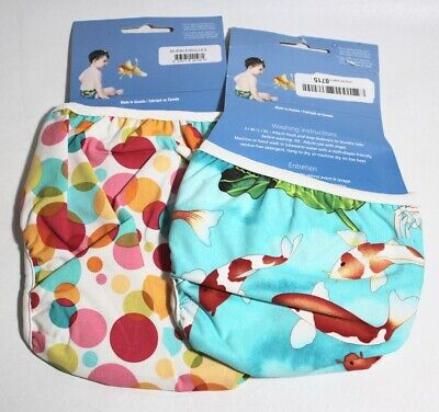 Bummis Swimmi Adjustable Cloth Diapers 2 Pack Bubbles XL & Koi Fish S  Free S/H