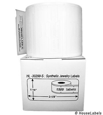 DYMO LW 30299-S SYNTHETIC POLYPROPYLENE Barbell Jewelry Labels  (1) Roll of 1500