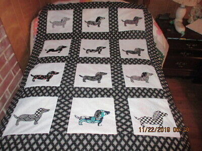 Beautiful  Dachshund   Appliqued  Quilt Top New  11/2019