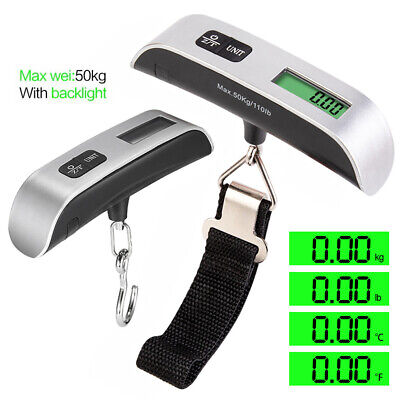 Portable Electronic Luggage Scale Digital LCD Display Hook Hanging Weight 50Kg