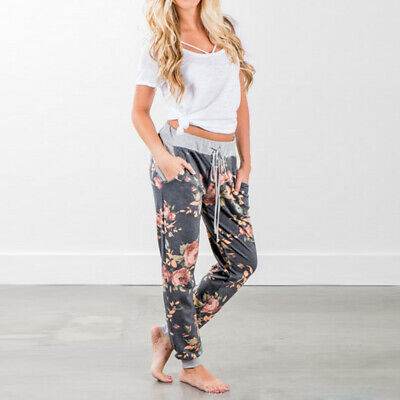 Printed Casual Floral Trousers Wide Girls Leg Ladies Pants Exercise Jogger Top