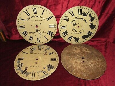 4 x Nice Antique Clock 12in Metal Dials For Restoration