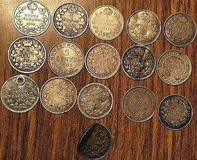 Lot Of 16 Canada Silver 5 Cents Lot Of 16 Coins