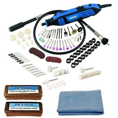 Jewellery / Craft Polishing Kit With Draper Rotary Hobby Tool & Accessories